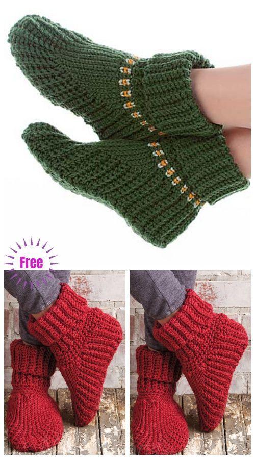 Crochet Women Holiday Slippers Free Crochet Pattern for Christmas