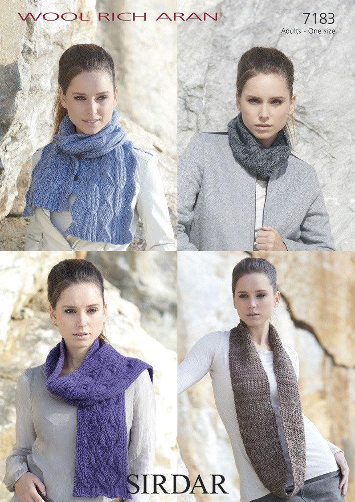 Snoods and Scarves in Sirdar Wool Rich Aran - 7183