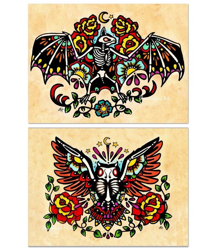 Day of the dead bat owl old school tattoo flash art set for Old school day of the dead tattoo