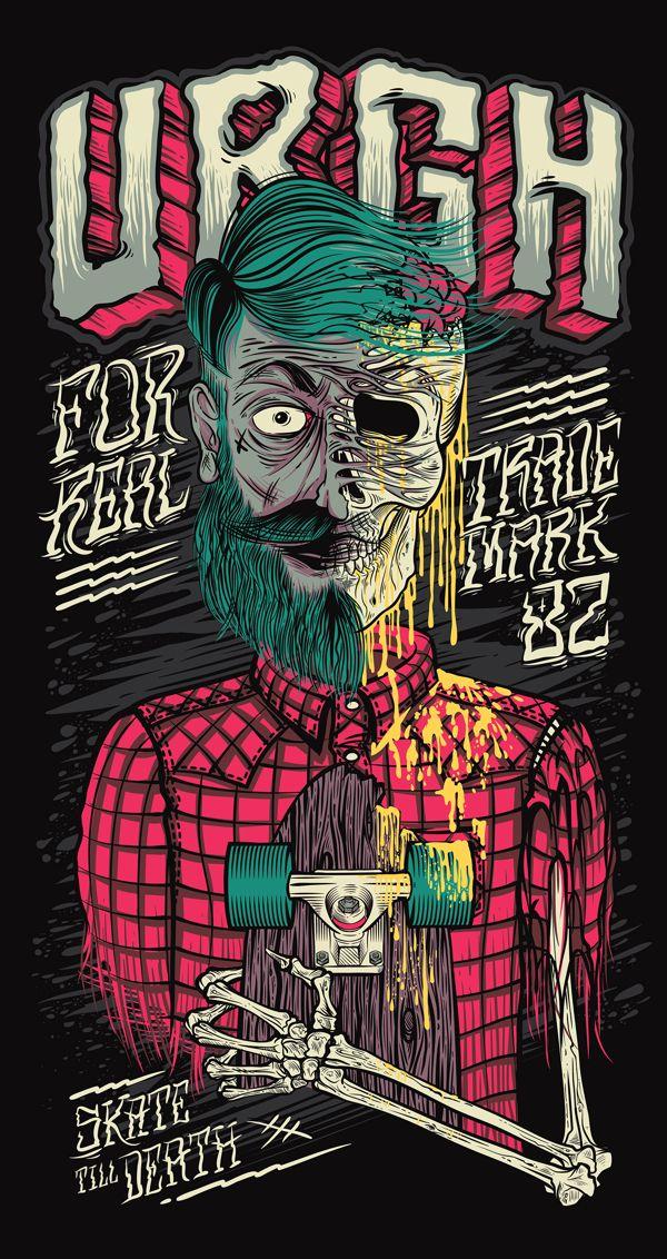 Skate Till Death Urgh | Illustration by Thiago Pacheco, via Behance