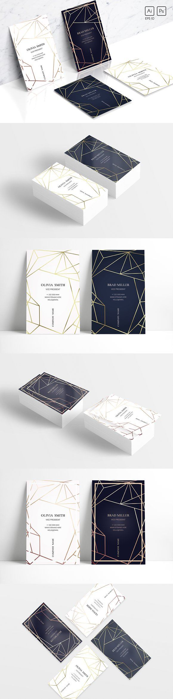 Geometric business card template - Trendy gold and bronze. US and UK formats. Ai CS5, EPS10 and PSD files. Women's and men's design. Perfect for business and creative people. Serious and strict style. Fashionable and modern design will provide you with a decent image. Just bring the file to your print shop! by Radionova Anastasia $10 #affiliatelink