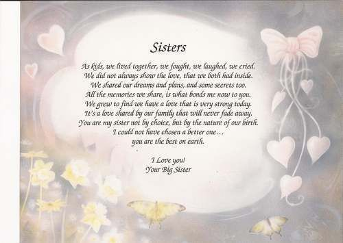 "Details about Personalized Poem ""Sisters"" Meaningful Gift Birthday, Christmas Choose Art"