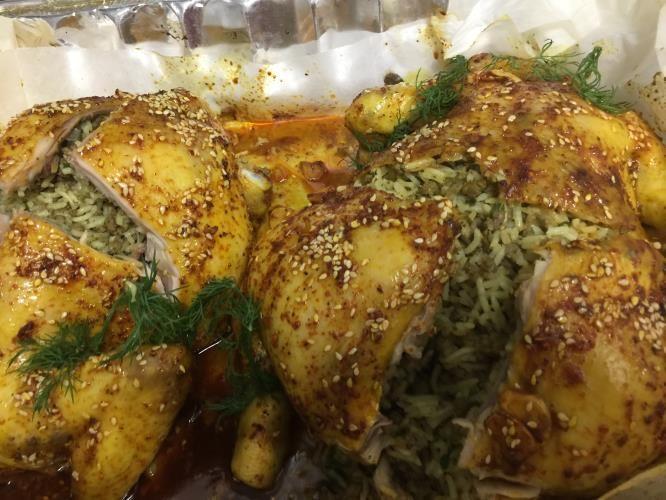 עופות בתנור במילוי אורז ובשר טחון