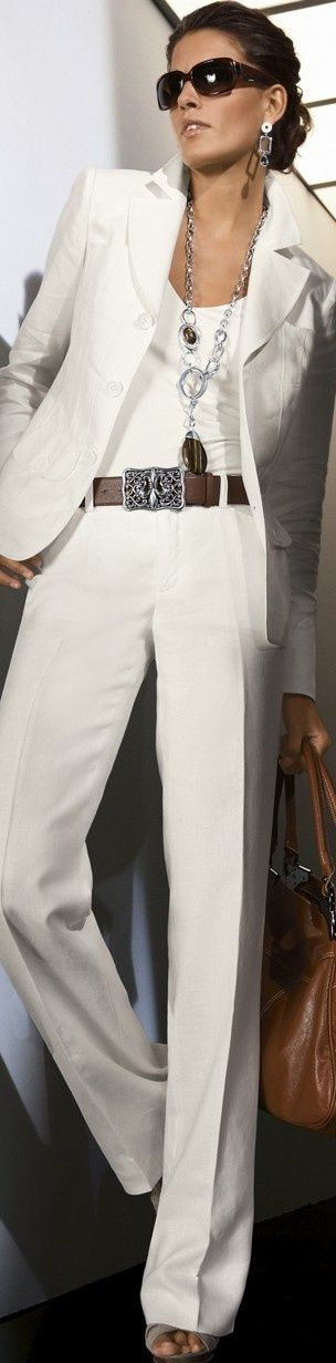White on WhiteFabulous. Nude undergarments are a must when you wear white slacks. A nude bra not white is best under white tops.