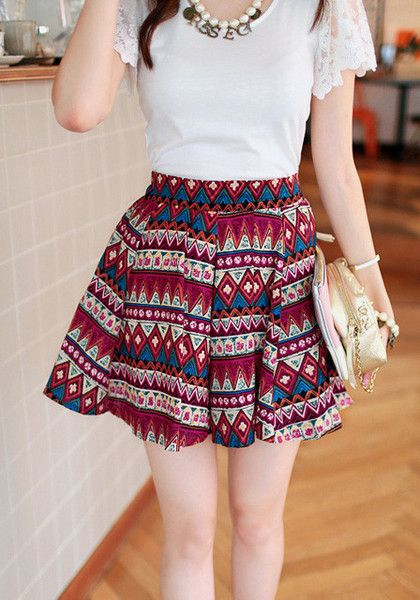Be bold and be fierce with this Aztec print skater skirt. This skater skirt features colorful Aztec prints designed for you to stand out. Keep your outfit chic and simple by pairing this with a cute top. | Lookbook Store What's New