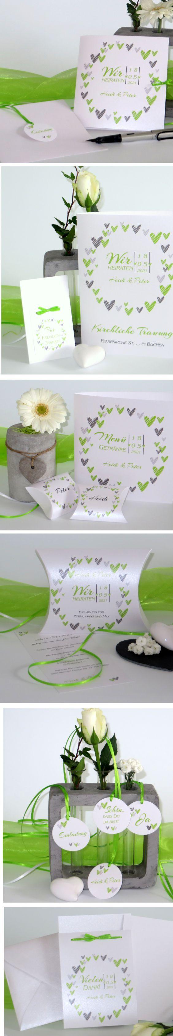 Hochzeitskarten mal anders. Modern und trendy ist das Design mit den gestreiften Herzen in grün. #hochzeit #hochzeitskarten #hochzeitsdeko #herzen #grün #design #trendy