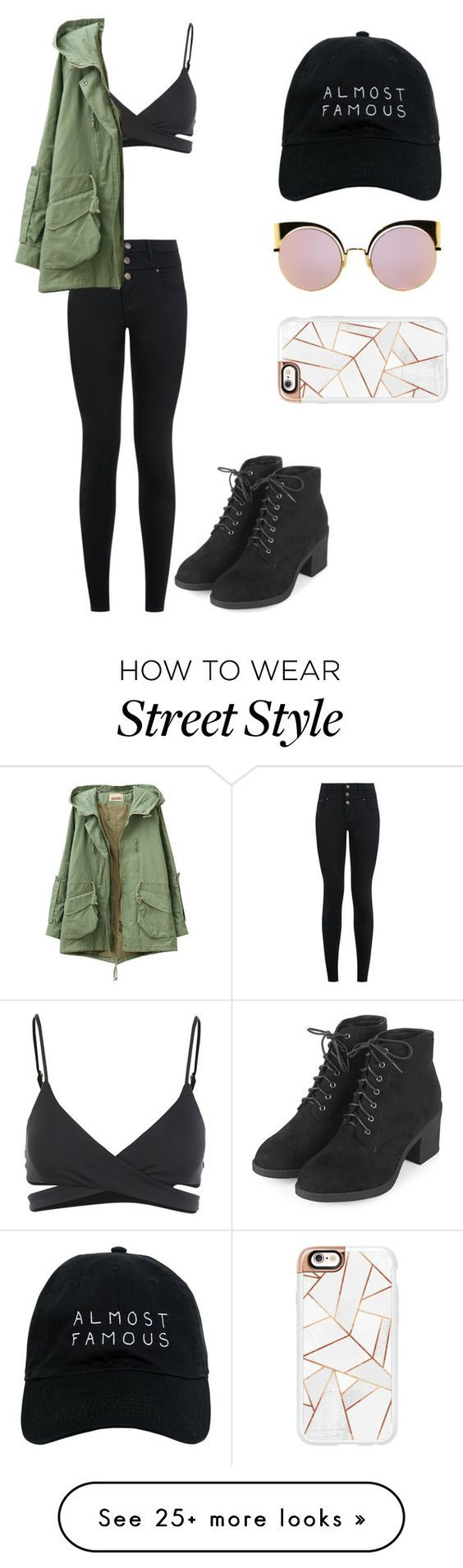 """Street style"" by nabookitty on Polyvore featuring L*Space, New Look, Topshop…"