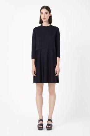 Silk collar knit dress