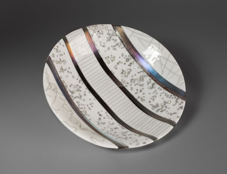 Reactive Striped Bowl - large glass bowl by Bobbi Vischi available at Creations Gallery of Fine Art & Gifts in Louisville, CO.