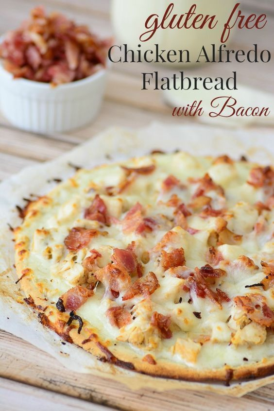 Gluten Free Chicken Alfredo Flatbread. This Gluten free recipe is delicious and made from all natural ingredients. Definitely have to try this!