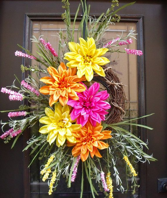 Spring Wreath Colorful Spring Door Wreaths Happy Go by LuxeWreaths