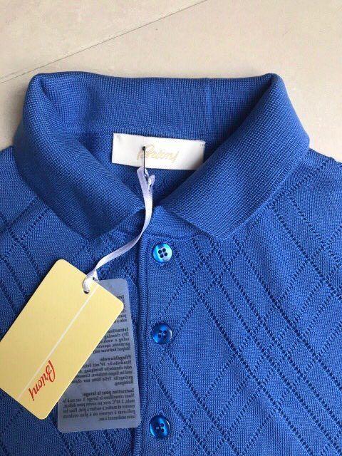 Knitwear Brioni Tshirt Polo New Men Rhombus Pattern Size L color Royal Blue #Brioni #MoistureManeger