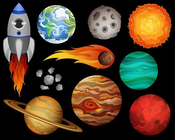 Outer Space Clip Art Set Of 10 X Large 300 Dpi Vector Png Etsy Art Set Digital Clip Art Set Outer Space