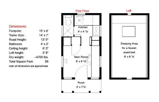 Epu floor plan 15 ft. long Tiny House Trailers