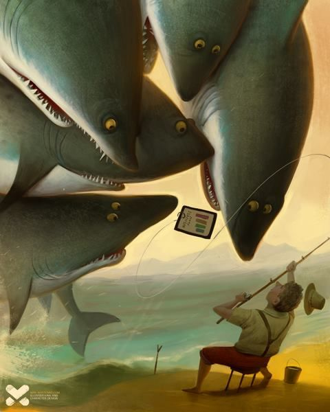 Its illustration for Whartonmagazine.com about Shark Tank Tv Show by Max Kostenko