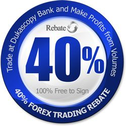 Using this unique rebate offer (IA-8410) you can trade Forex and receive back 40% of the total commissions you pay when you are trading with the top ECN Swiss broker Dukascopy Bank. This Forex promotion is 100% free to sign and does not include any hidden fees of commissions.Furthermore this 40% rebate is paid automatically -Directly to your trading account from Dukascopy once a month (in the middle of the following month). http://forex-rebates.com/index.php/forex-rebates/dukascopy-rebate