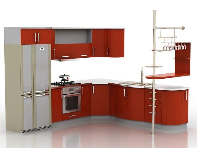 Kitchen Sets Furniture: Red Kitchen Furniture Set Ds Max Models