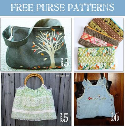 free purse patterns.....fabrics need updates but patterns are sound.....good tutorials