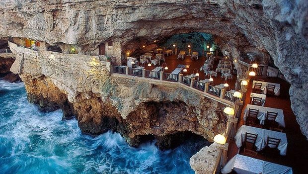 Grotta Palazzese restaurant is set in a grotto in the Italian town of Polignano a Mare, and is quite possibly the most romantic restaurant in the world