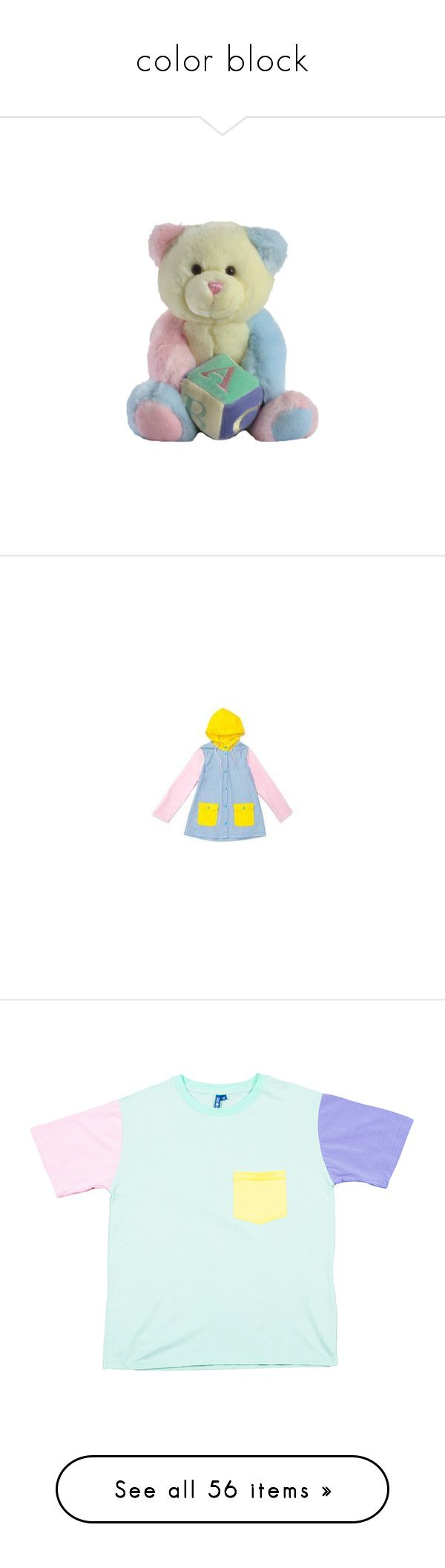 """""""color block"""" by starkyman ❤ liked on Polyvore featuring filler, stuffies, outerwear, coats, colorblock coat, blue raincoat, color block coat, blue coat, pastel coat and tops"""