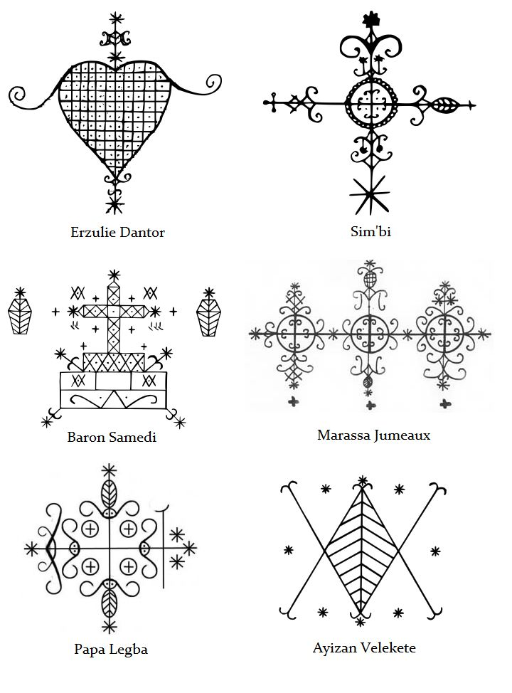 Vévé of various Loa of the Voodoo religion.