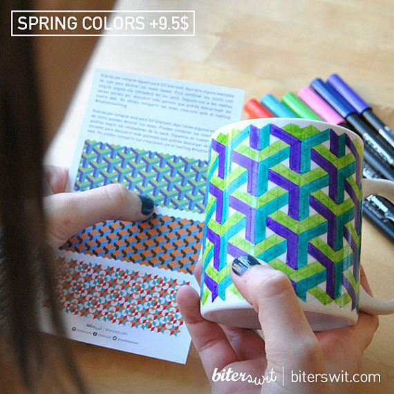 Coloring for adults & kids. Coloring mug with isometric guide. Customize your mug with ceramic brush pens. Original coloring DIY. Crafter gift  Do you