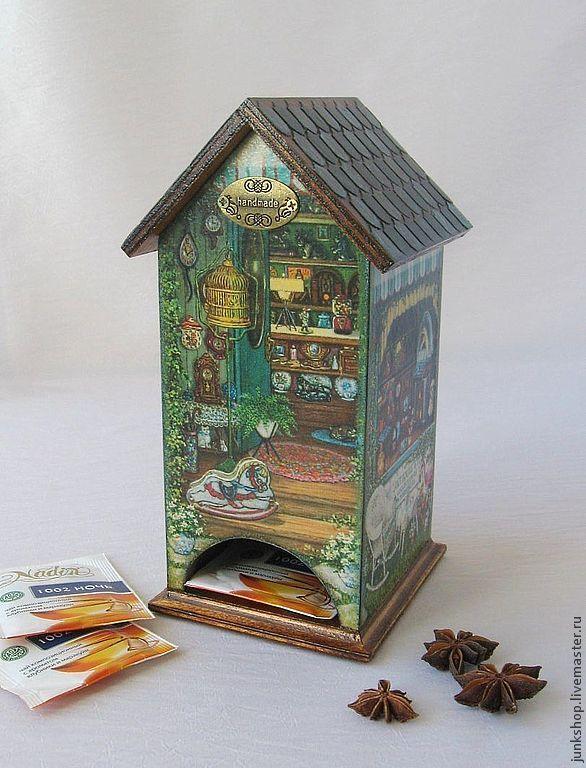 """Купить Чайный домик """"Кукольный дом"""" - зелёный, чайный домик, чайный домик декупаж, для кухни"""