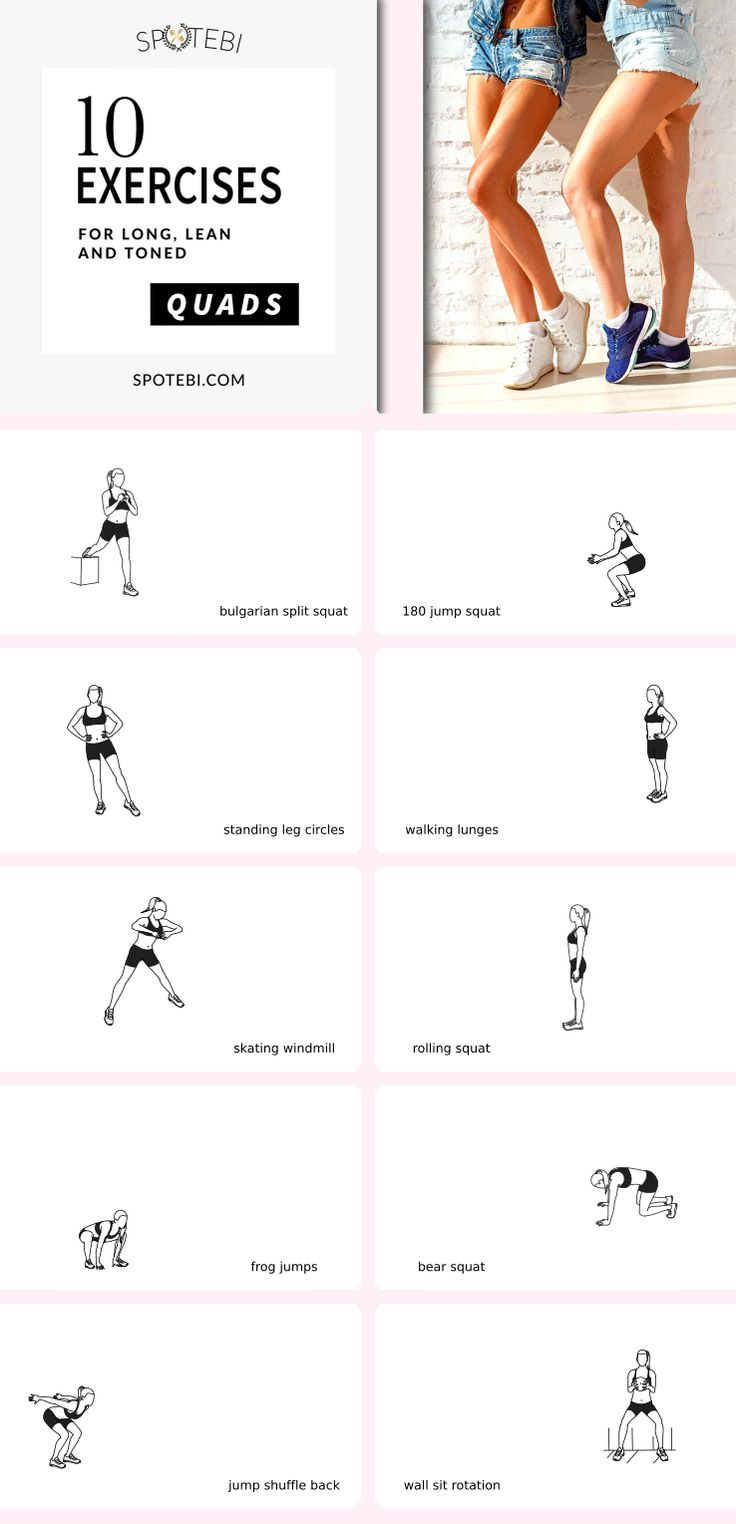 Tone the front of the thighs and sculpt long, lean, toned quads with this 17-minute killer LEG WORKOUT! https://www.spotebi.com/workout-routines/quads-on-fire-at-home-quad-workout-women/