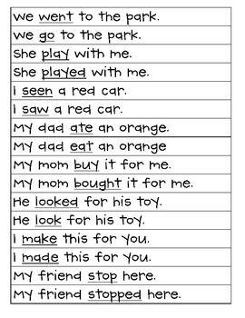 verb tense verbs past sentences tenses incorrect anchor english sort present grade charts correct words future last explanation nouns word