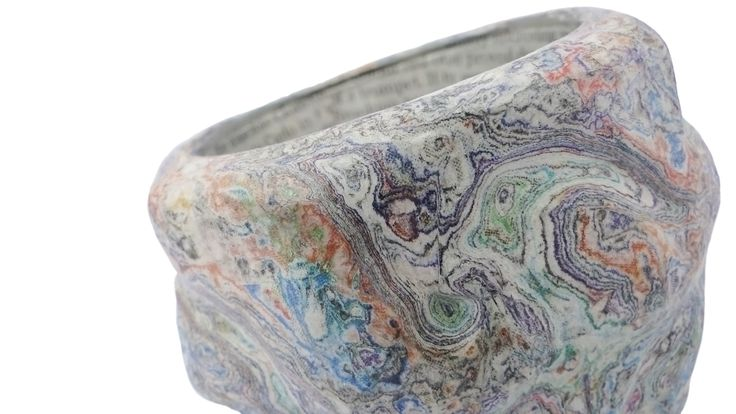 Carved paper vessel with glass liner by Dani Crompton.  #DaniCromptonDesigns www.dani-c.co.uk