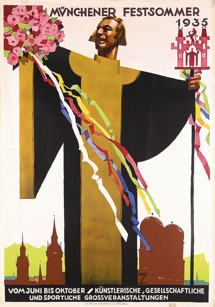 ORIGINAL 1930s LUDWIG HOHLWEIN Munich Poster Plakat  Estimated Price: $300 - $500  Description: Hohlwein, Ludwig 1874 - 1949. Münchener Festsommer. Offset 1935 . Size: 47.6 x 33 in. (121 x 84 cm) . Printer: Chromolith. Kunstanstalt, München .
