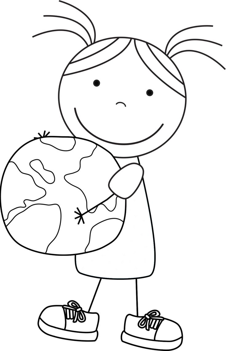 Kid Color Pages: Earth Day for Girls