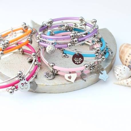Bright colour pop stacking charm bracelets perfect for summer jewellery