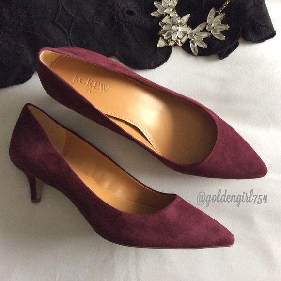 c18920c2bbe9 Available Apr 30 Low kitten heel in a beautiful burgundy wine shade. Heel  measures 2