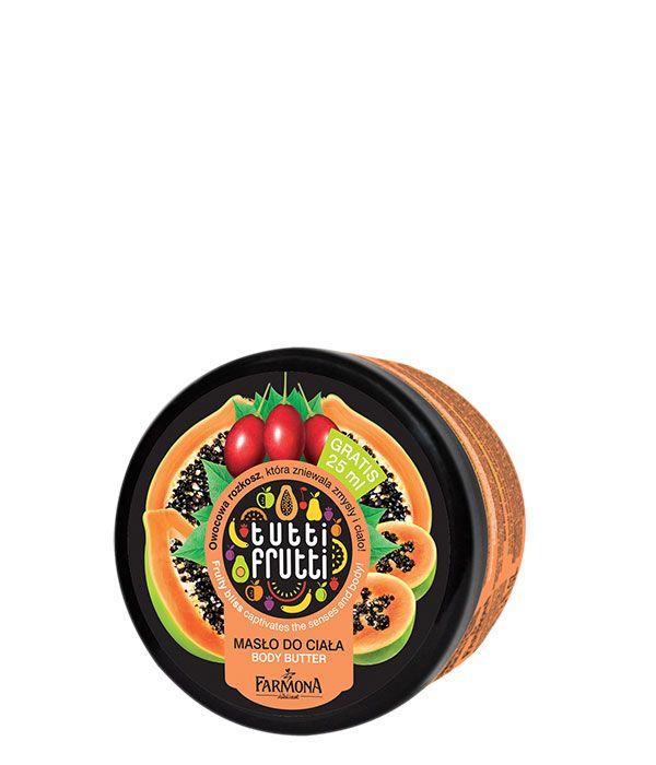 Masło do ciała papaja tamarillo od Tutti Frutti to niebiańsko słodki zapach i bogata formuła z masłem Karitè, która głęboko nawilża, odżywia i ujędrnia >>
