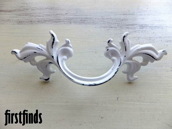 2 Beautiful French Provincial Handles Shabby Chic White Furniture Hardware  Drawer Door Painted Cottage Pull Kitchen