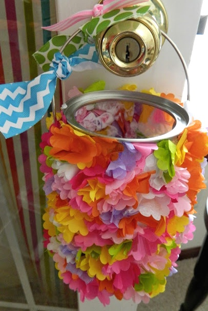 Tissue Paper Flower May Day Basket Craft