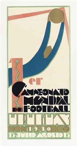 afiche del 1° mundial de fútbol en 1930