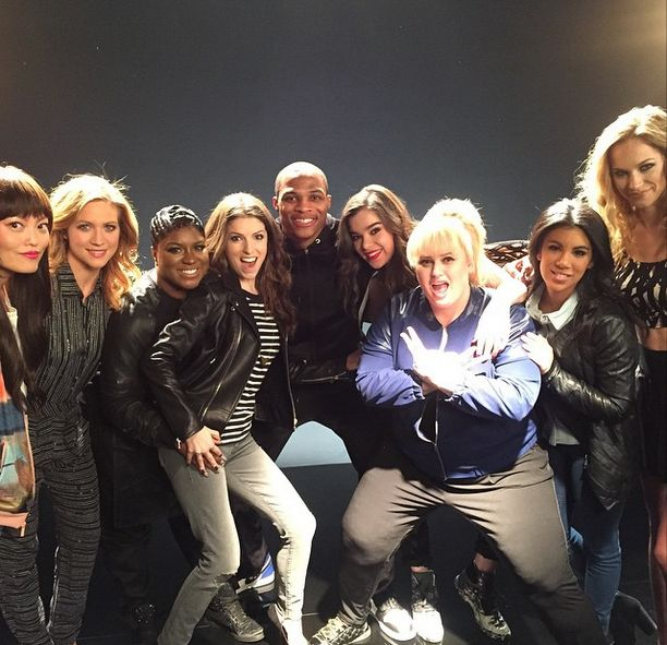 Russell Westbrook hung out with Anna Kendrick and the cast of 'Pitch Perfect 2' Pitch Perfect 2  #PitchPerfect2