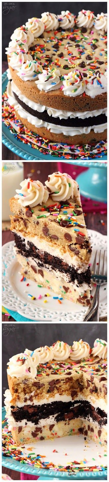 Ultimate Chocolate Chip Cookie Layer Cake ~ Easy Kitchen 4 All