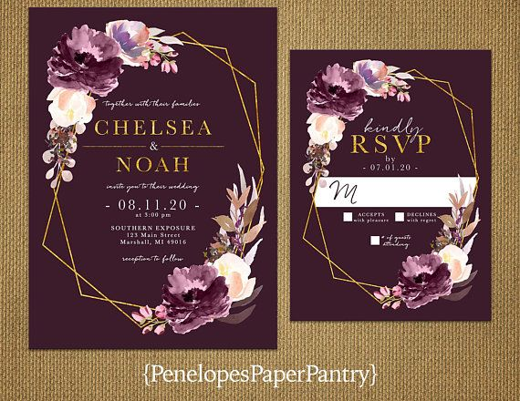 Elegant Purple Floral Geometric Frame Fall Wedding Etsy Purple Wedding Invitations Plum Wedding Invitations Fall Wedding Invitations