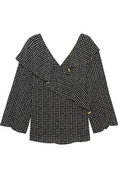 Diane von Furstenberg - Ruffled Polka-dot Silk Crepe De Chine Wrap Top - Black - US12