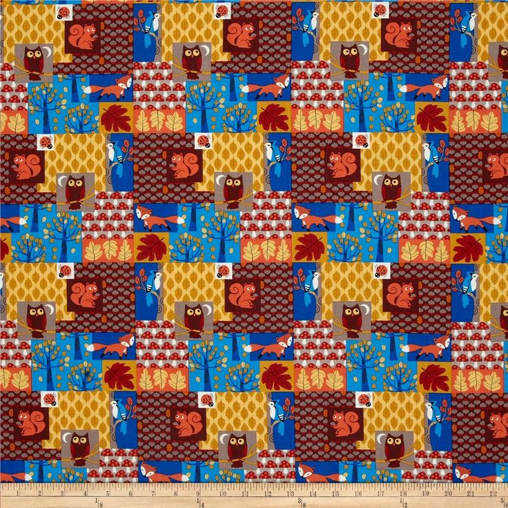 Timeless Treasures Nutty Buddies Nighttime Woodland Patch Multi from @fabricdotcom  Designed for Timeless Treasures, this cotton print fabric is perfect for quilting, apparel and home decor accents. Colors include brown, orange, gold, blue, bittersweet and taupe.