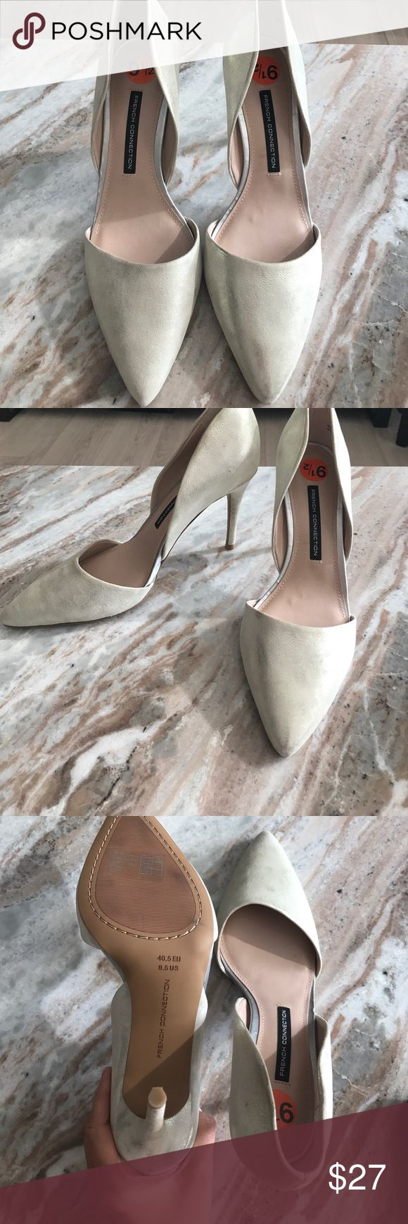 NBW French Connection stylish gold stilletos NBW gold suede French Connection stilletos. Super stylish and comfortable heels that can be worn at work or on a night out! Padding on the sole for extra comfort. French Connection Shoes Heels