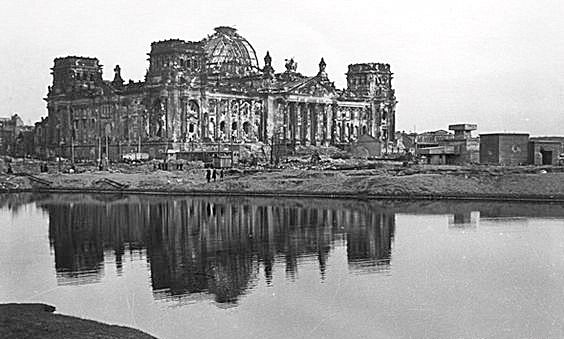The combined decimation of the Reichstag fire and the Final Push by the eastern front into Berlin is horribly striking.1945