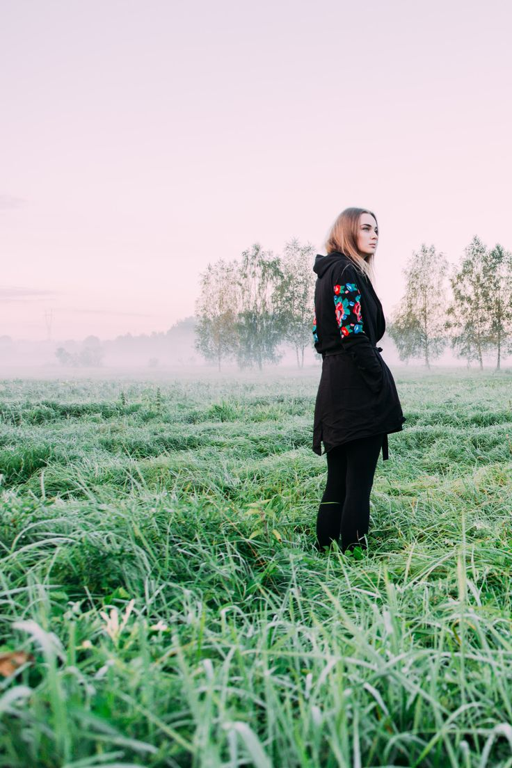 Cosy coat with traditional embroidery based on Belarusian folk culture. Learn more at xoroshedesign@gmail.com
