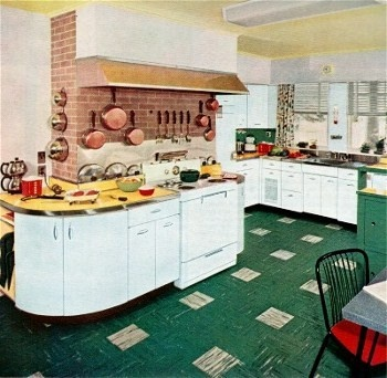 1955 kitchen--had those formica counter tops with aluminum edging in my  childhood kitchen.