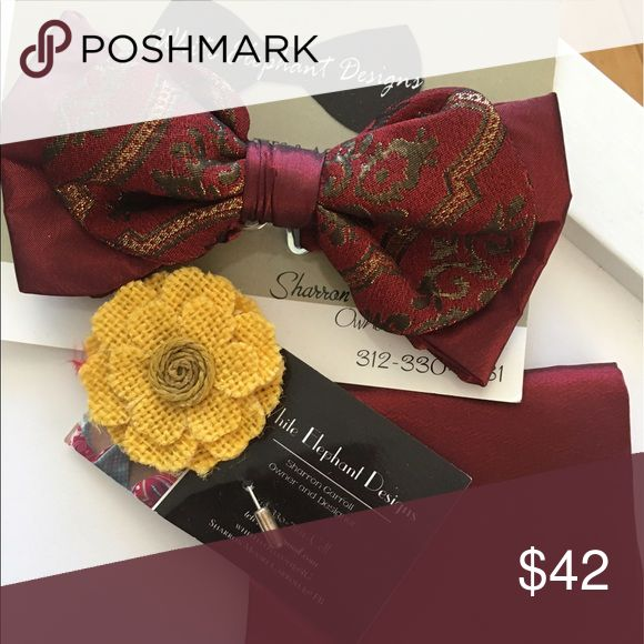 Custom Bow tie set Burgundy bow tie with pocket square and lapel pin Accessories Ties