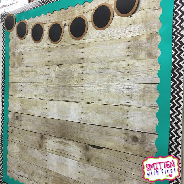 Love this bulletin board with WOOD paper! So rustic chic!