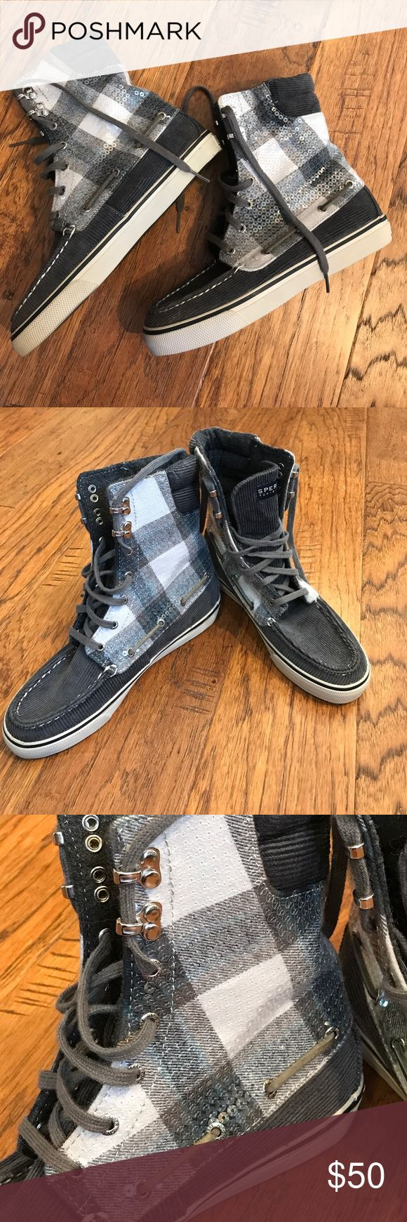 NWOT Sperry high tops NWOT but still have sticker on bottom of shoe as shown in picture. Blue plaid high top Sperry top sider sneakers with sequence going up them. They are a size 6.5 and fit true to size. Sperry Top-Sider Shoes Sneakers